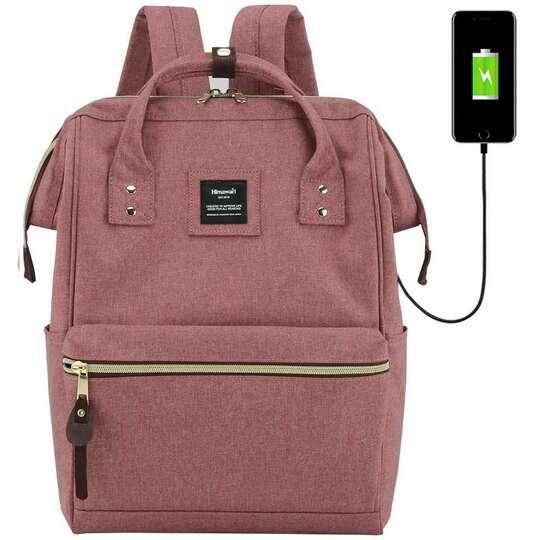 "Plecak Himawari 9001 na laptopa 13,3"" z USB - Kolor: brudnoróżowy"