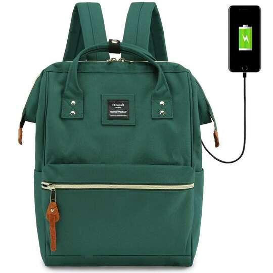 """Plecak Himawari 9001 na laptopa 13,3"""" z USB - Kolor: ciemnozielony"""