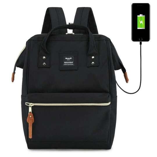 """Plecak Himawari 9001 na laptopa 13,3"""" z USB - Kolor: czarny"""