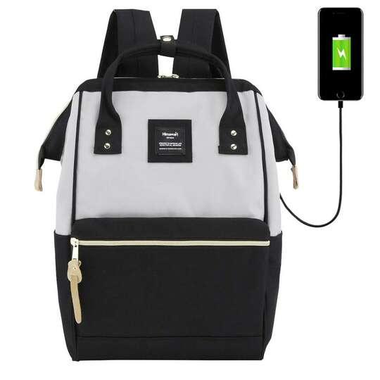 """Plecak Himawari 9001 na laptopa 13,3"""" z USB - Kolor: czarno-szary"""