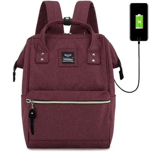 """Plecak Himawari 9001 na laptopa 13,3"""" z USB - Kolor: bordowy"""