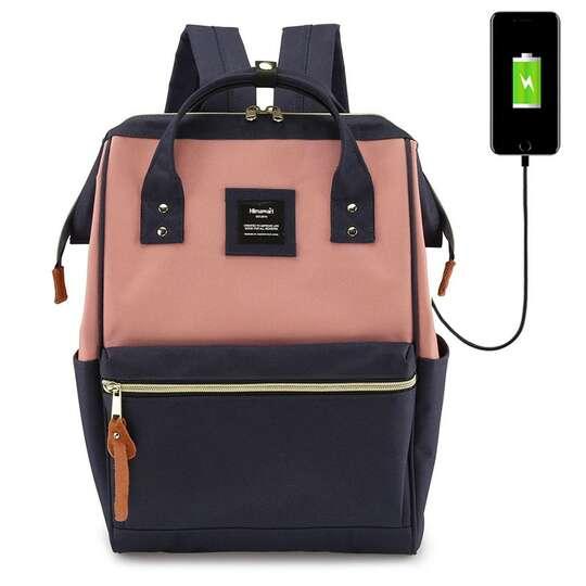 """Plecak Himawari 9001 na laptopa 13,3"""" z USB - Kolor: granatowo-różowy"""