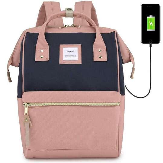 """Plecak Himawari 9001 na laptopa 13,3"""" z USB - Kolor: różowo-granatowy"""