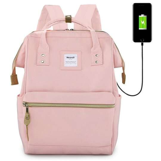 "Plecak Himawari 9001 na laptopa 13,3"" z USB - Kolor: różowy"