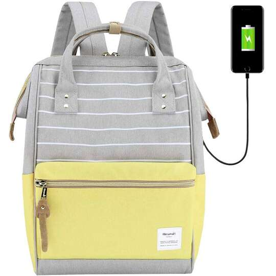 "Plecak Himawari 9001 na laptopa 13,3"" z USB - Kolor: żółto-szary (paski)"
