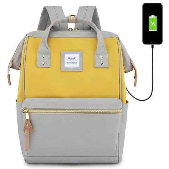 "Plecak Himawari 9001 na laptopa 13,3"" z USB - Kolor: szaro-żółty"