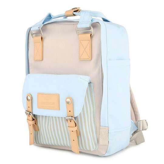 "Plecak Himawari HM188L na laptopa 13,3"" 14,1"" vintage - Kolor: 46. niebiesko-beżowy"