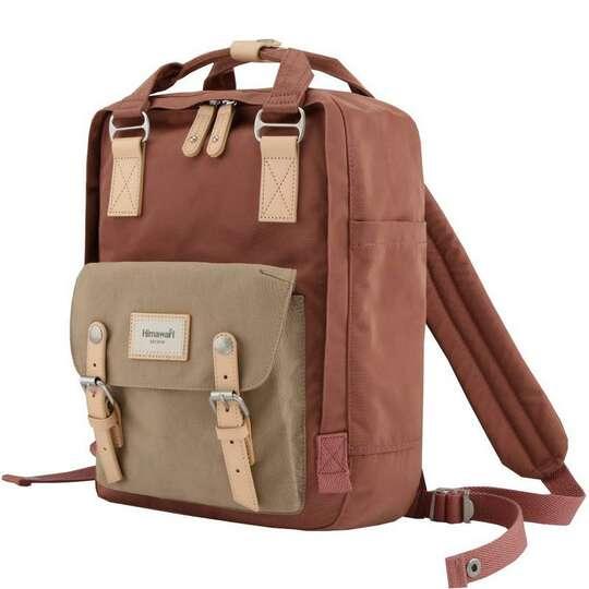 """Plecak Himawari HM188L na laptopa 13,3"""" 14,1"""" vintage - Kolor: 58. brudnoróżowo-kawowy"""