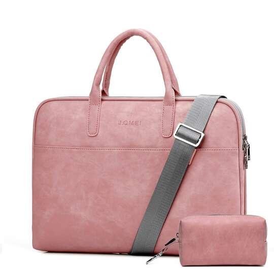 """Torba damska JQ Camilla na laptopa 17,3"""" eco skóra + etui - Kolor: różowy"""
