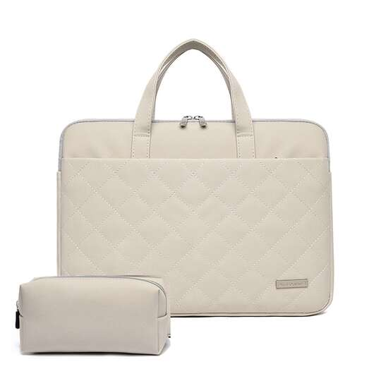 "Etui/torba JQ Paola pikowane na laptopa 15,6"" eco skóra - Kolor: beżowy"