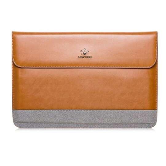 Etui Lention skóra naturalna Macbook Air 13 - Kolor: brązowo-szary