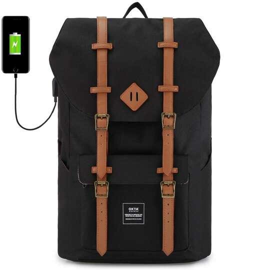 """Plecak Himawari Okta na laptopa 15,6"""" z USB - Kolor: czarny (czerwono-białe wnętrze)"""
