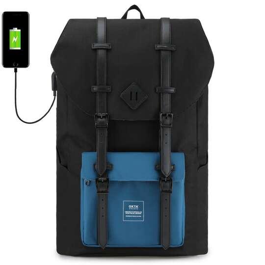 """Plecak Himawari Okta na laptopa 15,6"""" z USB - Kolor: czarno-niebieski (czarno-białe wnętrze)"""