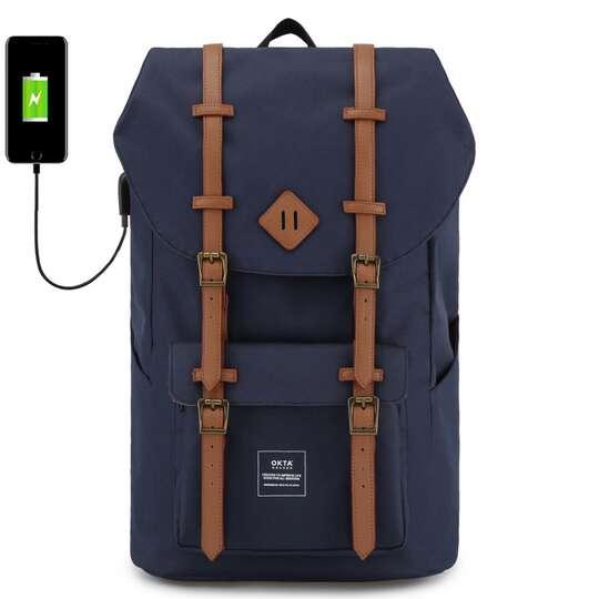 """Plecak Himawari Okta na laptopa 15,6"""" z USB - Kolor: granatowy (czerwono-białe wnętrze)"""