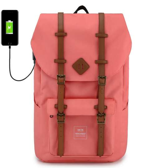 """Plecak Himawari Okta na laptopa 15,6"""" z USB - Kolor: różowy (czerwono-białe wnętrze)"""
