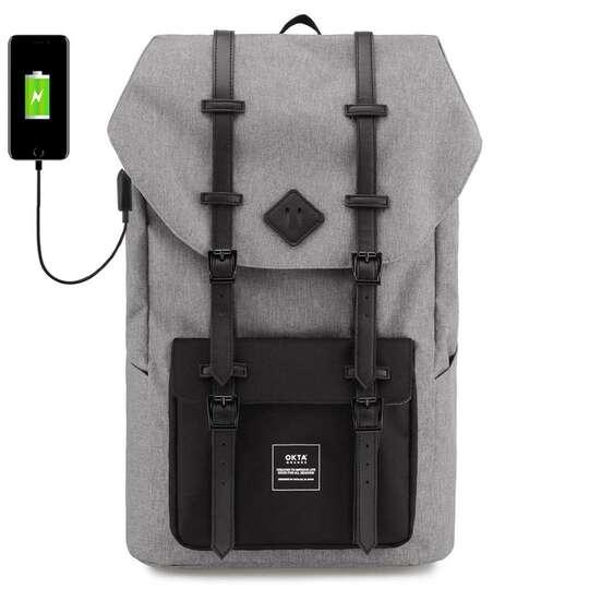 """Plecak Himawari Okta na laptopa 15,6"""" z USB - Kolor: szaro-czarny (czarno-białe wnętrze)"""