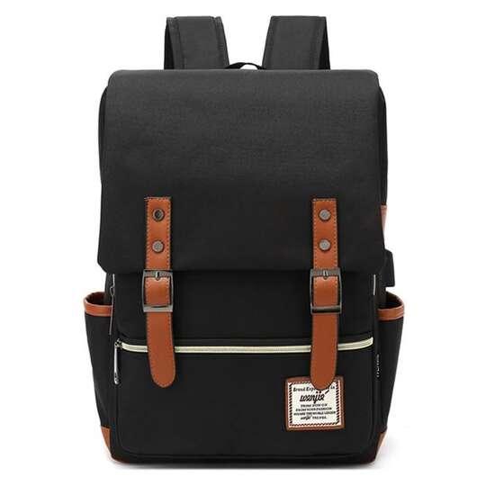 "Plecak Oxford na laptopa 15,6"" - Kolor: czarny/brązowe elementy"
