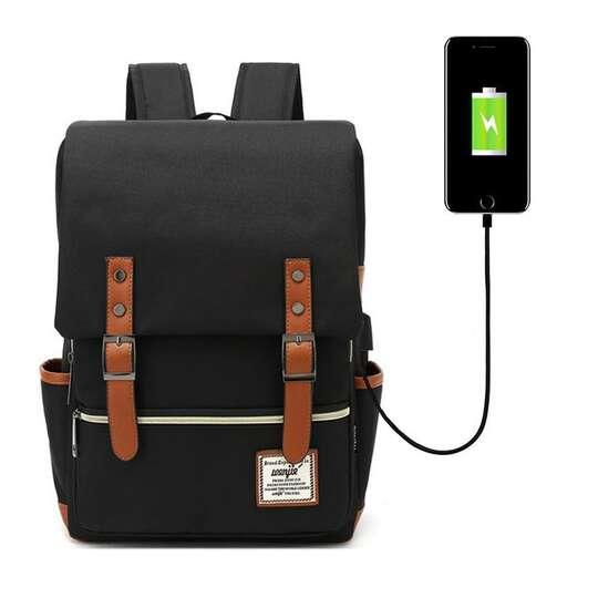 "Plecak Oxford na laptopa 15,6"" - Kolor: czarny/brązowe elementy z USB"