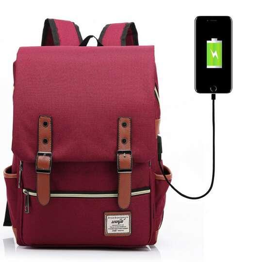 "Plecak Oxford na laptopa 15,6"" - Kolor: czerwony z USB"