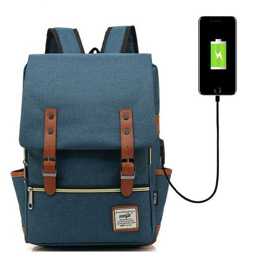 "Plecak Oxford na laptopa 15,6"" - Kolor: granatowy z USB"