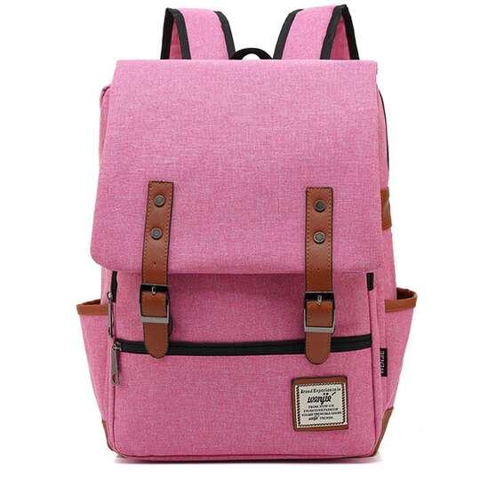 """Plecak Oxford na laptopa 15,6"""" - Kolor: różowy z czarnymi zamkami"""