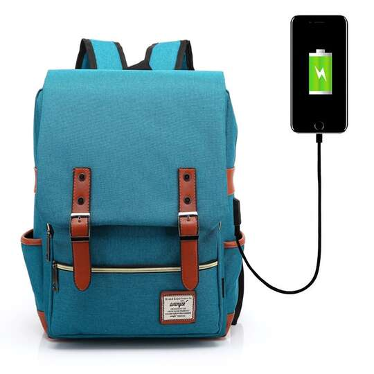 "Plecak Oxford na laptopa 15,6"" - Kolor: turkusowy z USB"