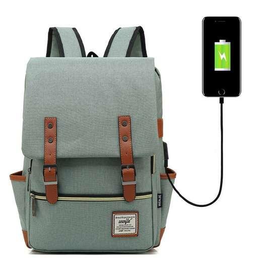 "Plecak Oxford na laptopa 15,6"" - Kolor: jasnozielony z USB"