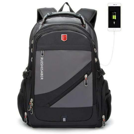 """Plecak RuiBer na laptopa 17,3"""" bardzo pojemny złącze USB OUTLET SKAZA - Kolor: szaro-czarny"""