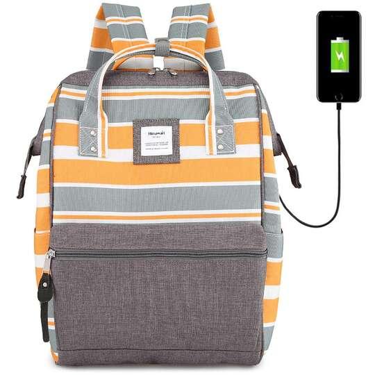 Plecak Himawari Stripes damski szkolny z USB - Kolor: A. żółto-biało-szare