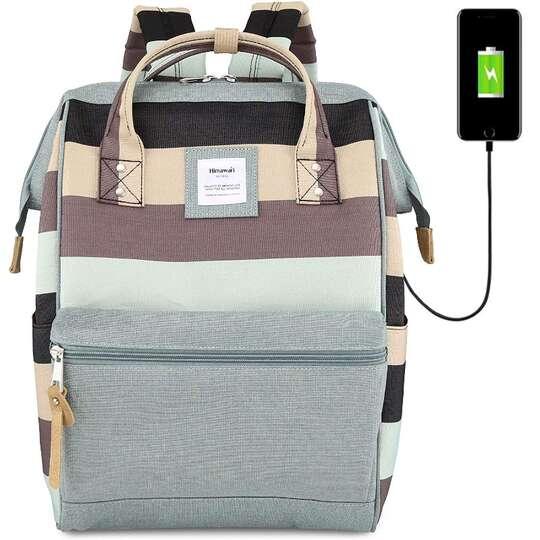 Plecak Himawari Stripes damski szkolny z USB - Kolor: B. zielono-brązowe
