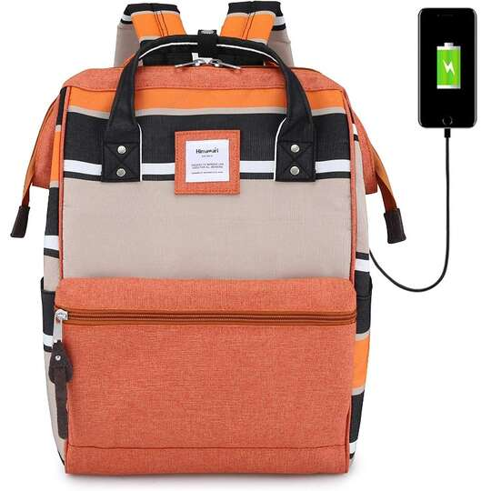 Plecak Himawari Stripes damski szkolny z USB - Kolor: C.pomarańczowo-kawowy